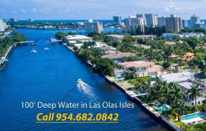 Dock For Rent At 100' Deep Water in Las Olas Isles